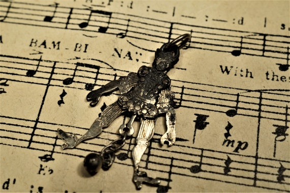 Antique Silver Dancing Jester Articulated Charm c1