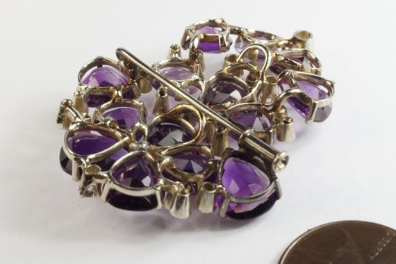 Very Pretty 1940s Vintage 18k White gold Amethyst… - image 4