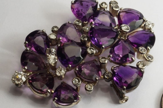 Very Pretty 1940s Vintage 18k White gold Amethyst… - image 5