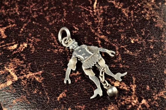 Antique Silver Articulated Dancing Jester / Acroba