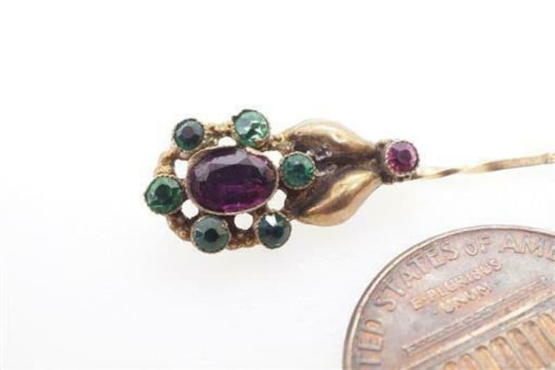 Antique European 18k Gold Garnet and Emerald Paste Flower  Comet Pin c1830