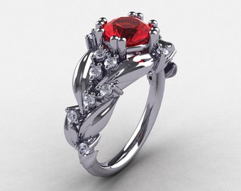 61ad98a58e3 Nature Inspired 14K White Gold 1.0 Ct Ruby Diamond Leaf and Vine Engagement  Ring R340-14KWGDR