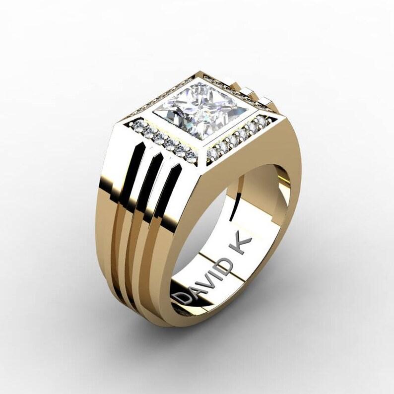2f77e3ad3fade Gentlemens Modern 14k Yellow Gold 2.0 Carat Princess White Sapphire Diamond  Ring R1140-14KYGDWS
