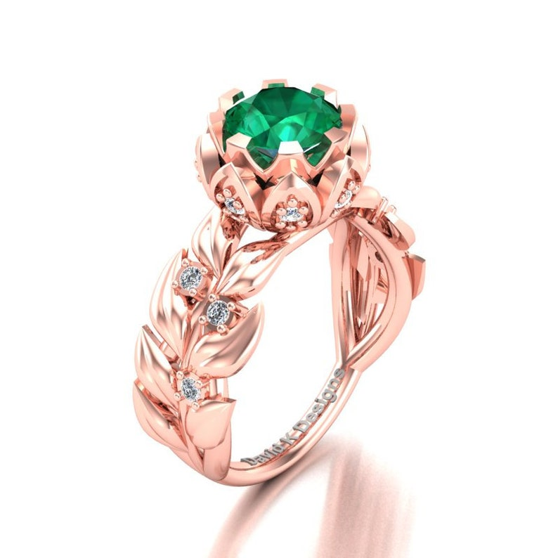 f9a9ee1bd5c Nature Inspired 14K Rose Gold 1.0 Ct Emerald Diamond Leaf Vine