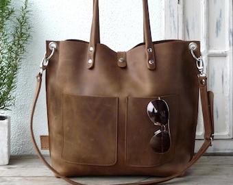 Large leather tote bag, Leather tote, Tote bag leather, Tote bag, Leather tote woman, Leather tote, Leather tote, Emma Frontpocket - brown!