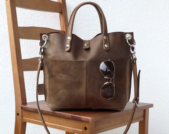 Leather bag, Leather bag brown, Leather bag women, small leather shopper, handbag, small leather shopping bag, Lou Frontpocket - brown!
