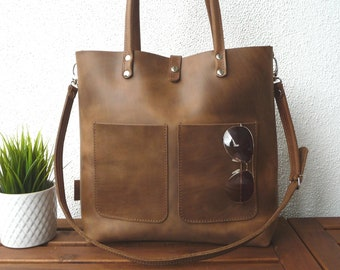 HANDBAG, Leather bag, cowhide, full grain, leather bag woman, distressed leather, leather tote, laptop bag, Enie frontpocket - brown!!