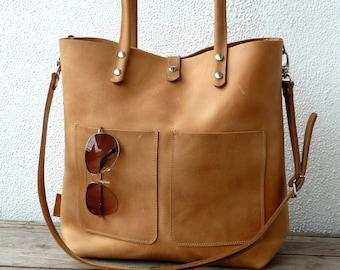 LEATHER SHOULDER BAG, Large Leather bag, Shoulder bag leather, Leather bag, Leather bag woman, Leather bag, Enie Frontpocket - camel!