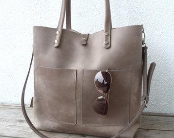 LEATHER TOTE, large leather tote, leather, leather tote woman, leather tote women, modern laptop bag, Enie frontpocket - grey!!