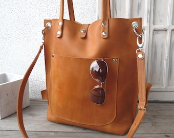 8f143624df Leather bag woman cognac
