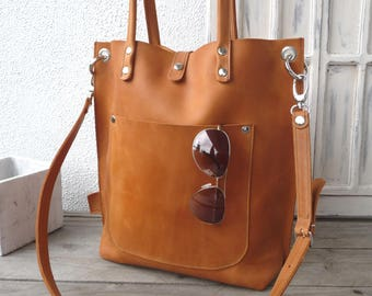 Leather bag woman cognac