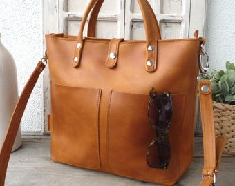 HANDBAG, Small leather tote bag, leather tote with optional zipper, interior zipper pocket, crossbody, frontpockets, every day bag Lenie!