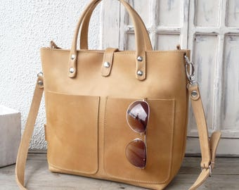 LEATHER TOTE BAG woman, with optional front pockets, top zipper, interior zipper pocket, crossbody, distressed leather, every day bag Lenie!