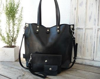 bf02aa48d7404 Emma schwarz - black - Vintage Look! Ledertasche Leder Tasche leatherbag  leather bag shoulderbag shoulder bag shoppingbag shopping bag