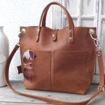 Leather bag cognac, Leather bag women, small leather shopping bag, cognac leather handbag, small leather shopper, Lou Frontpocket - cognac!