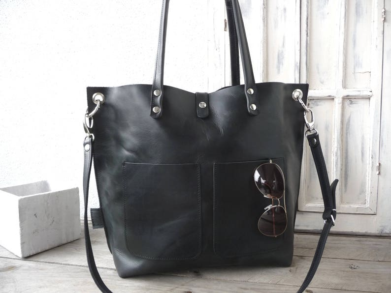 a53c8fc1be Emma Frontpocket black Leather tote full grain cowhide