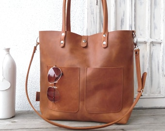 Leather tote, large leather tote, leather, leather tote woman, leather tote women, modern laptop bag, Enie frontpocket - cognac!