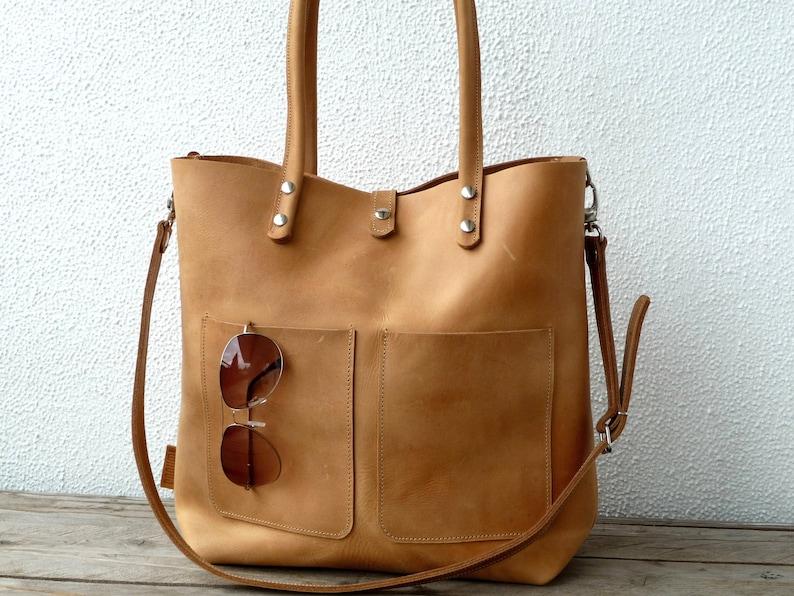 LEATHER SHOULDER BAG Large Leather bag Shoulder bag leather image 1
