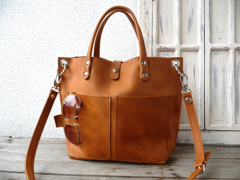 Leather bag cognac Leather bag women small leather shopping image 0