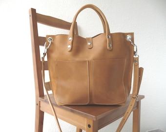 LEATHER BAG, Leather bag camel, Leather bag women, small leather shopper, handbag, small leather shopping bag, Lou Frontpocket - camel!