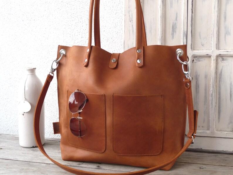 SHOULDER BAG Large leather bag Leather bag Shopping bag image 0