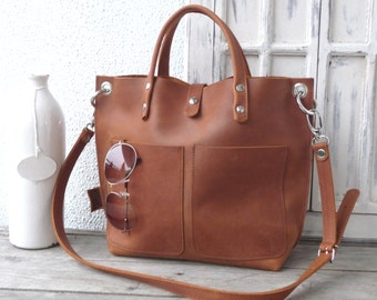 Leather bag cognac, Leather bag women, small leather shopping bag, cognac leather handbag, small leather shopper, Lou Frontpocket - cognac!