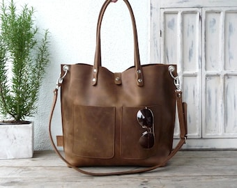 Large leather tote bag, Leather tote, Tote bag leather, Tote bag, Leather tote woman, Leather tote, Leather tote, Emma Frontpocket - brown!