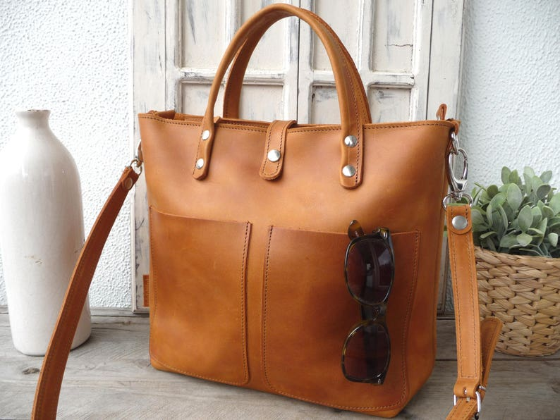 HANDBAG Small leather tote bag leather tote with optional image 0