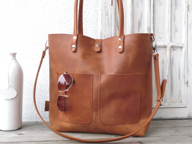 Leather bag cowhide full grain leather tote distressed image 0