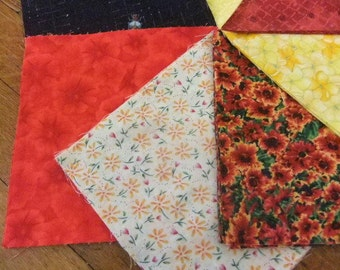 """6"""" by 6"""" Cotton Quilting Squares, Fall Colors, Orange, Yellow, Black, and Red Prints"""