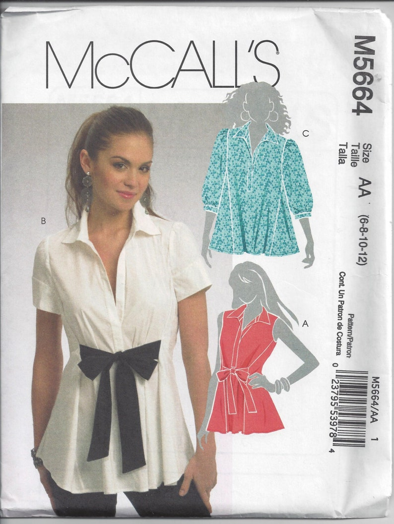 c58004cee5b1c McCall s 5664 Sewing Pattern for Flared Blouses Sizes 6 8