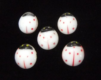 Vintage White Ladybug Buttons, Group of 5