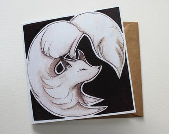 Arctic Fox Blank Greeting Card - Black & White