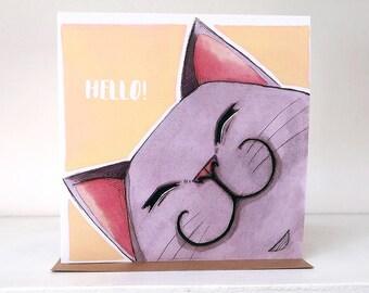 Hello! Grey Cat - Blank Greeting Card