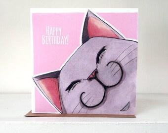 Happy Birthday Grey Cat - Blank Greeting Card