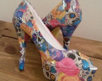 Sugar skulls and roses customised heels