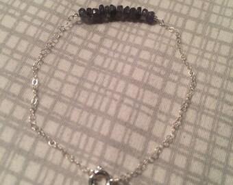 Iolite + sterling silver bracelet