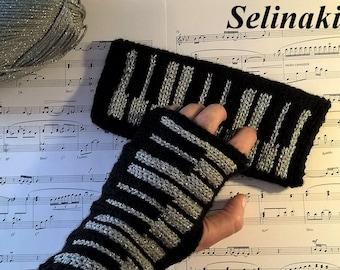 Knit Silver Piano Fingerless Gloves Glitter Mittens Hand Wrist Warmers Music