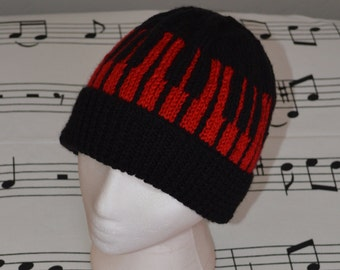 eec242a6282 Piano Keyboard Knit Music Red Black Hat Beanie