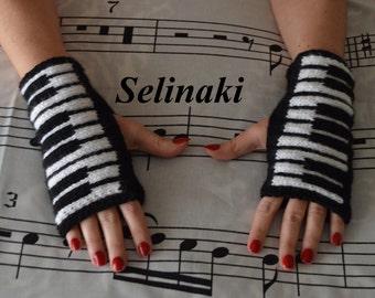 Knit Piano Fingerless Gloves Mittens Hand Wrist Warmers Music