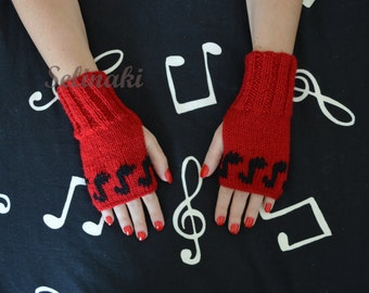 Knit Music Notes Fingerless Gloves Red Mittens Hand Wrist Warmers