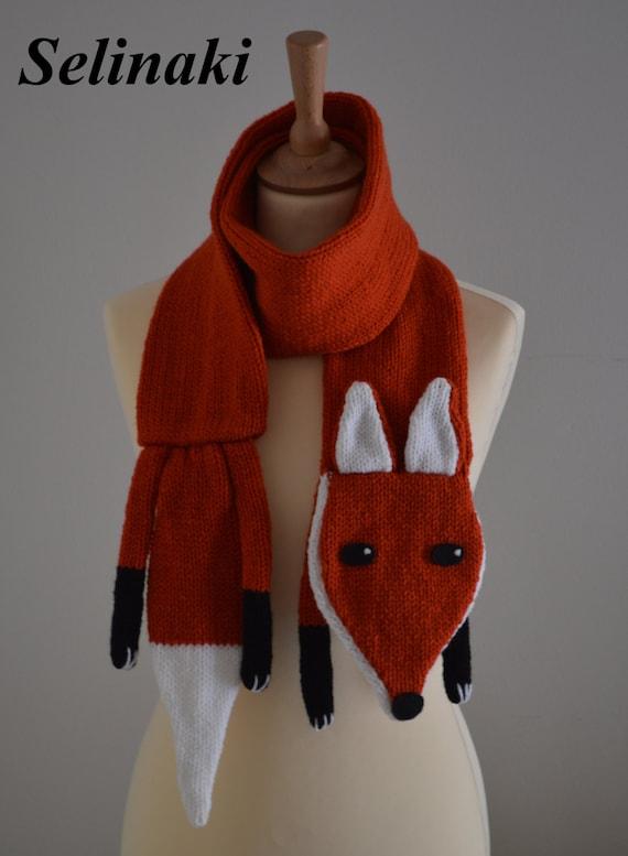 Stricken Sie Fuchs Schal Kinder und Erwachsene Größe Tier | Etsy