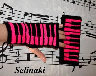 Knit Piano Hot Pink Fingerless Gloves Mittens Hand Wrist Warmers Music