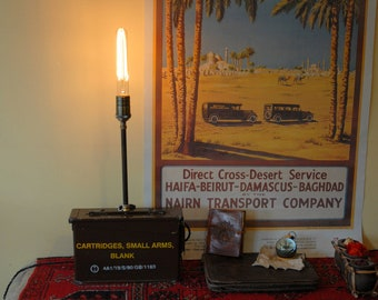 Military ammunition box lamp - table lamp - steampunk lamp - desk lighting - Edison bulb - upcycled lighting - military surplus