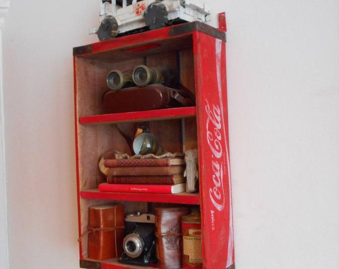 Vintage soda crate industrial spice / bathroom rack shelving