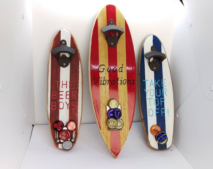 Personalised surfboard bottle opener and catcher - using upcycled wood - wall mounted - magnetised catch