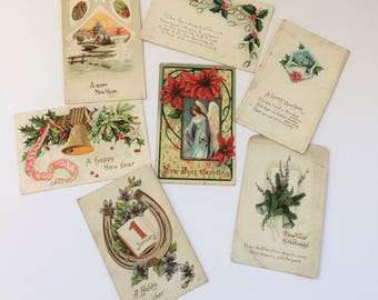 Vintage New Year's Post Cards Lot of 7 Happy New Year Greetings 1910's New Year's Party Décor Invitations Crafts Scrapbooking Paper Crafts