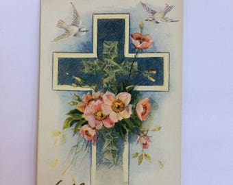 Vintage Easter Post Card Cross White Doves Pink Flowers Ivy Embossed Antique Postcard 1900's Spring Easter Greetings Collectible