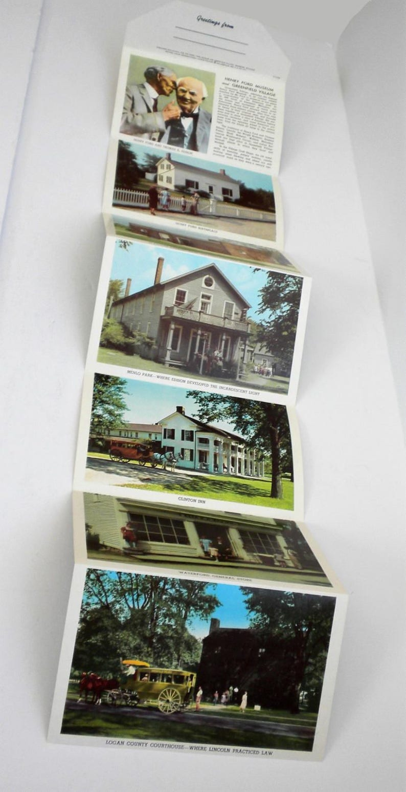 Thomas Edison Vintage Post Card Curt Teich /& Co Michigan 1957 Vintage Henry Ford Museum and Greenfield Village Postcard Folder Dearborn