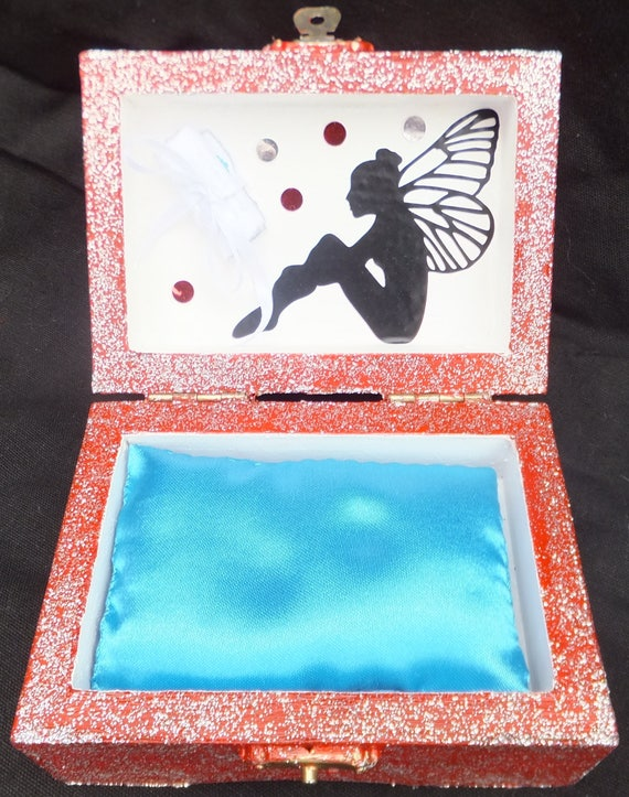 Tooth Fairy Box Red And Silver Glitter With Blue Cushion And Fairy Poem Uk Based